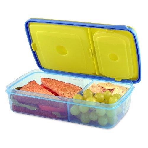 Fit & Fresh 826KCH - Caja de almuerzo Bento con 3 compartimentos de almacenamiento de alimentos para niños, sin BPA, apto para microondas y lavaplatos, varios colores, 24 cm x 14...