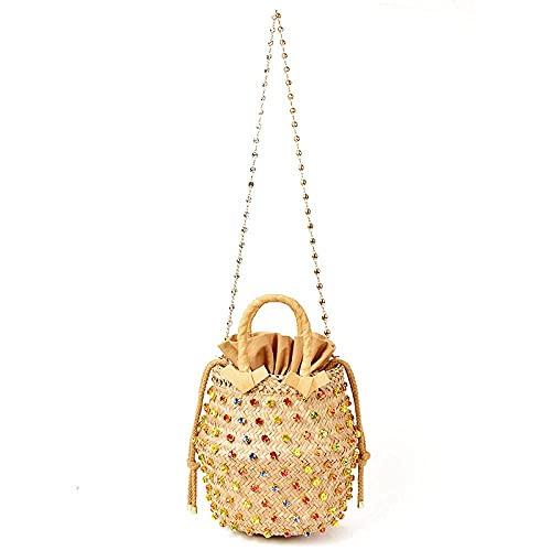 KKLLHSH Bolso de mano con adornos de cristal tejido, bolso de cubo con arcoíris, bolsos de hombro para mujer, mejores bolsos de mano, bolsos de diamantes, 20x20