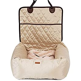 MONIKI 2in1 Dog Car Seat Bed – Waterproof & Nonslip Cat Traveling Front Booster Seats, Removable cover & Cushion