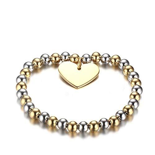 Pulseras de acero con bola de amor ajustable para la mano, accesorios de joyería para mujeres y hombres