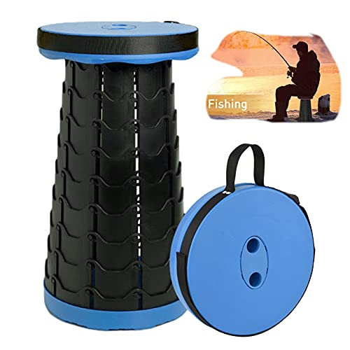 LEcylankEr Taburete Plegable Portátil para Camping Taburete Telescópico de hasta 200 kg,Altura Ajustable de 6,5 a 47cm para Acampar al Aire Libre,Pesca,Barbacoa,Cocina Interior (Azul)