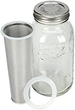 Cold Brew Mason Jar Coffee Maker by County Line Kitchen - 2 Quart, 64 oz – Durable Glass Jar, Heavy Duty Stainless Steel Filter, Stainless Steel Lid, Save $ - Easily Make Your Own Cold Brew