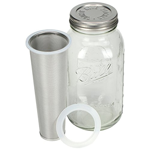 County Line Kitchen Durable Cold Brew Mason Jar Coffee Maker. Glass Jar, Stainless Steel Filter and Lid - 2 Quart, 64 oz