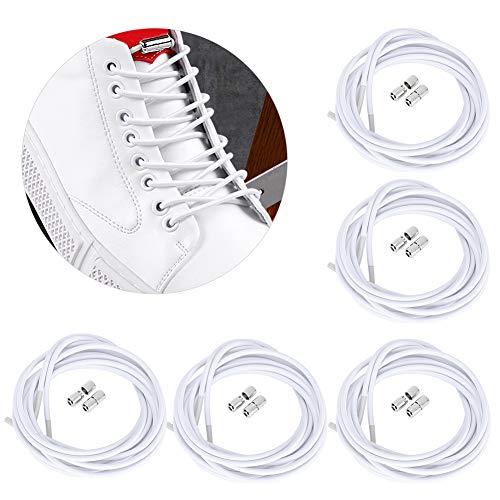 5 pares de cordones para zapatos perezosos de repuesto sin cordones elásticos para todos los partidos sin cordones con hebilla de cápsula metálica para zapatillas de deporte (blanco)