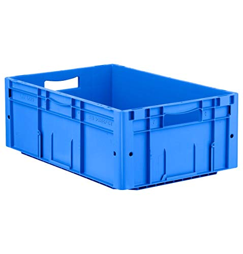 SSI Schäfer LTF 6220 Eurokiste Kunststoffbox Transportbox offen ohne Deckel, 600x400 mm, 42 l, 30 Kg Tragkraft, Made in Germany, Blau