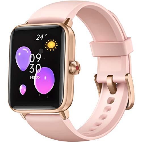 Dirrelo Reloj Inteligente Mujer 2021, Reloj Deportivo con Pantalla Táctil, Monitor de Frecuencia Cardíaca, Recordatorio Menstrual, Smartwatch Mujer Impermeable iP68 para Teléfonos iOS Android, Rosa