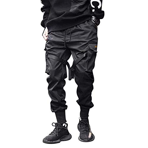 Aelfric Eden Mens Joggers Pants Long Multi-Pockets Outdoor Fashion Casual Jogging Cool Pant with Drawstring (Black, L)