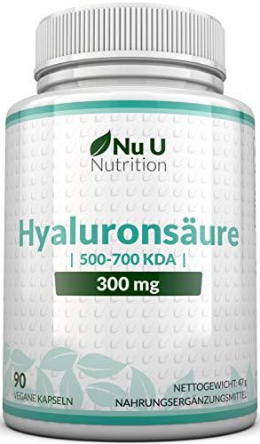 Hyaluronsäure Kapseln 300mg | 90 Kapseln (3 Monatsvorrat) | Mikro-molekulare kDa | Dreifache Stärke im Vergleich zu vielen Marken von Nu U Nutrition