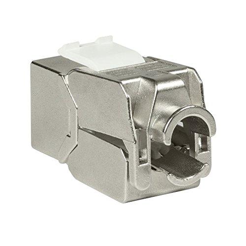 Faconet® 2X Keystone CAT 6A Netzwerk RJ45 LAN Einbaubuchse Slim Type voll geschirmt, werkzeuglos, kleine Bauform, Jack toolless STP