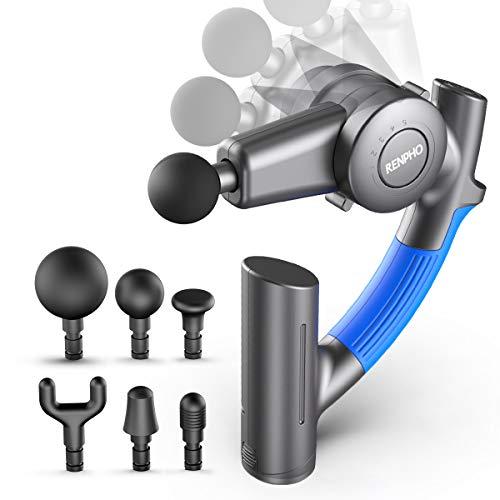 Massagepistole, RENPHO Muskel Massage Gun Massagepistole Elektrisch mit Verstellbarem Arm und 6 Massageköpfen, Leichtes Tragbares Körpermassagegerät zur Linderung von Muskelverspannungen