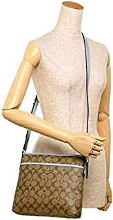 Coach Women's Small Signature Zip File Cross-body Bag, Smooth Leather (F29210) - Khaki & Pale Blue
