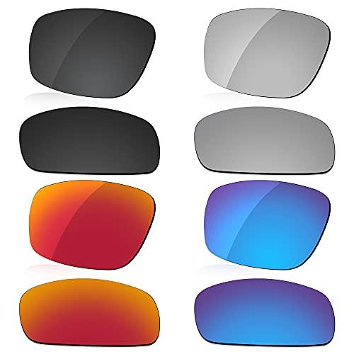 LenzReborn Reemplazo de lente polarizada para gafas de sol Costa Del Mar Reefton - Más opciones, Negro oscuro + gris plateado + rojo fuego + azul hielo, Talla única