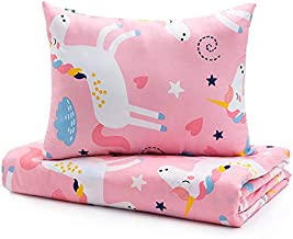 Sivio Kids Duvet Cover Set for Kids Weighted Blanket, 100% Cotton, 2 Pieces Toddler Bedding Set Gift for Boys and Girls, 36 x 48 Inch, Pink Unicorn