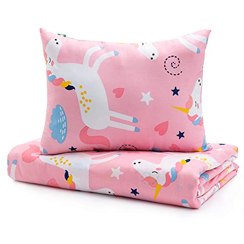 Sivio Kids Duvet Cover Set for Kids Weighted Blanket, 100% Cotton, Skin-Friendly 2 Pieces Toddler Bedding Set Gift for Boys and Girls, 36 x 48 Inch, Pink Unicorn