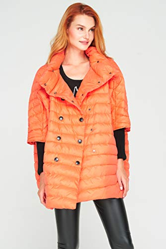 Jejhmy Ultraleichte Daunenjacke Damen Cape Mantel Damen warme lose Stil modische Lange Fledermaus Ärmel Ente Daunenmantel Mantel one Size orange