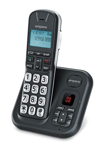 Emporia GD61AB, Telefono Cordless, Portatile DECT, Display illuminato, Segreteria telefonica, Numeri Grandi, Vivavoce, Compatibile con apparecchi acustici (HAC), Nero [Italia], Black