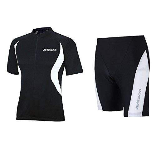 Airtracks Ensemble maillot de cyclisme à manches courtes / short de vélo court Pro T + maillot de cyclisme à manches courtes pour équipe / respirant – Noir – XL