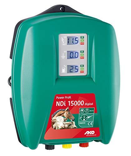 AKO Weidezaungerät Power Profi NDI 15000 digital - 230 Volt - für Extreme Zäune, schwer zu hütende Tiere (Bullen, Wildabwehr) - Entladeenergie 14,5 Joule!