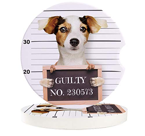 NO:230573 Bad Jack Russell Terrier Guilty Car Coaster with Finger Notch with Finger Notch for Drink 2 Piece Set Absorbent Car Cup Holder Coaster for Vehicle Cup Pad for Women, Men