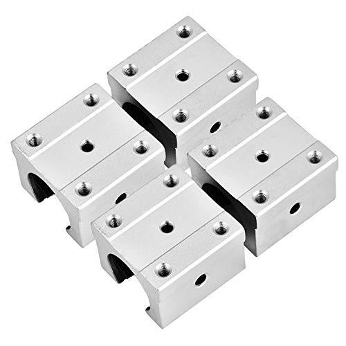 Diapositiva de rodamiento lineal abierta, 4 piezas SBR16UU 16 mm Diapositiva de bloque de cojinete de movimiento lineal abierto de aluminio para CNC