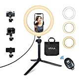 Ring Light with Tripod Stand Phone Holder, UFULA 10' LED Desk RingLight Table Selfie Circle Lamp Video Recording for Cell Phone GoPro Camera Live Stream Makeup Photoshoot TikTok Zoom Meeting