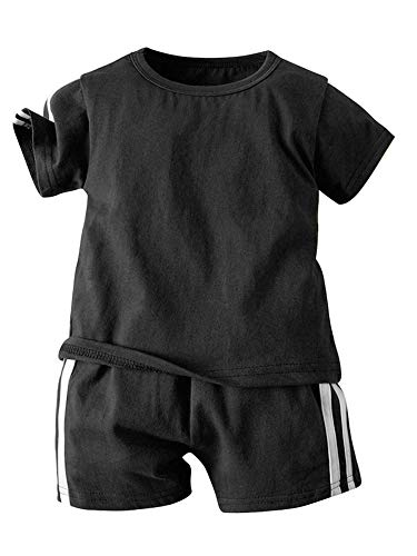 TSSOE Unisex Baby Jogginganzug Kurzarm T-Shirt und Hose Sport Trainingsanzug Sportanzug Bekleidungsset für Mädchen Jungen A Schwarz 98-104