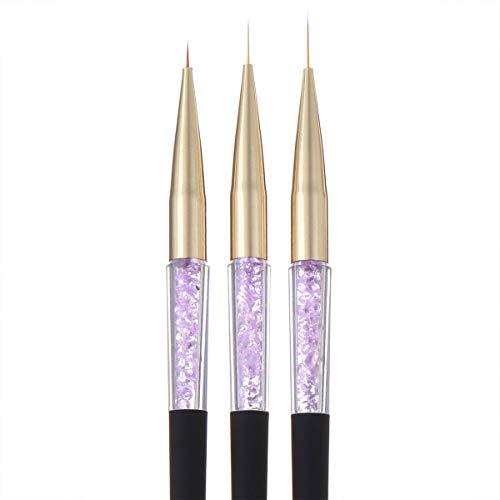 3-teiliges Fineliner Pinsel Set Strass in Schwarz - für Gelmalerei mit Painting Gelen oder Acryl - tolle Nailart Schnörkel auf Ihren Nägeln