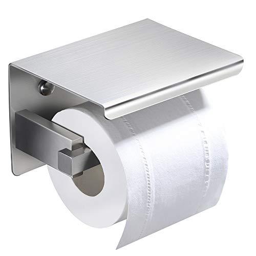 RUICER Toilettenpapierhalter Ohne Bohren mit Ablage - Klopapierhalter Edelstahl WC Rollenhalter Wandhalterung Klorollenhalter für Badzimmer