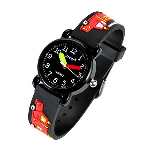 Hemobllo Feuerwehrauto Armbanduhr Silikon für Kinder (Schwarz)