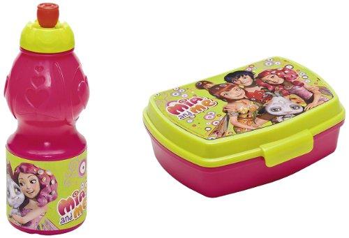 Joy Toy 118147+118146 - Mia and Me Set: Sportflasche, 400 ml, 7 x 7 x 18 cm mit Jausenbox, 18 x 15 x 8 cm