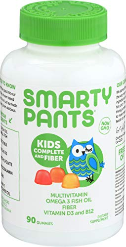 SmartyPants Kids Formula & Fiber Daily Gummy Vitamins: Gluten Free, Multivitamin & Omega 3 Fish Oil (Dha/Epa), Fiber, Methyl B12, vitamin D3, Vitamin B6, 90 Count (22 Day Supply) - Packaging May Vary