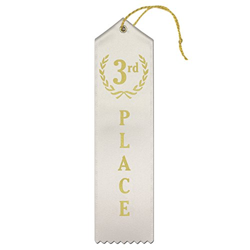 3rd Place (White) Premium Award Ribbons with Card & String - 25 Count Metallic Gold foil Print – Made in The USA
