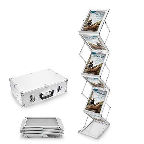Voilamart Prospektständer Faltbar 6x DIN A4 Hochformat Silber Broschüre Literatur Bodenständer Falt-Prospektständer Katalogständer mit Transportkoffer, Aluminium/Acrylglas