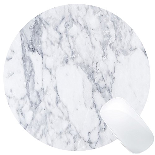 Wknoon White Marble Round Mouse Pad Cute Mat White Grey Circular Mouse Pads