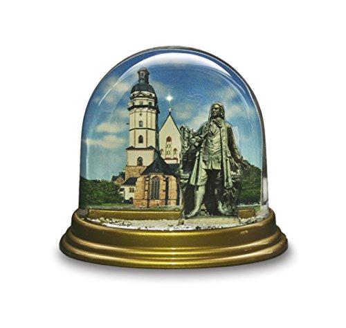 Dresden-Onlineshop Schneekugel Thomaskirche Leipzig mit Bachdenkmal, Johann Sebastian Bach, Musik Komponist Barock, Noten Flocken Schneeflocken Schüttelkugel Glitzerkugel, hergestellt in Deutschland