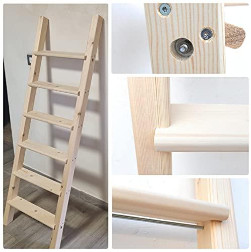Escalera de madera con tacos, ancho variable de litera, color granero (longitud 170 – ancho 50 )