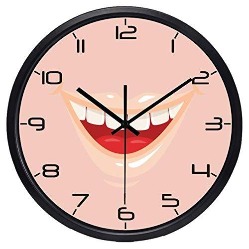 Reloj de Pared Hombres Y Mujeres Vendedores Calientes Estilo Moderno Clínica Dental Sonrisa Boca Reloj De Pared Reloj DeCuarzo Diente 14 Pulgadas B