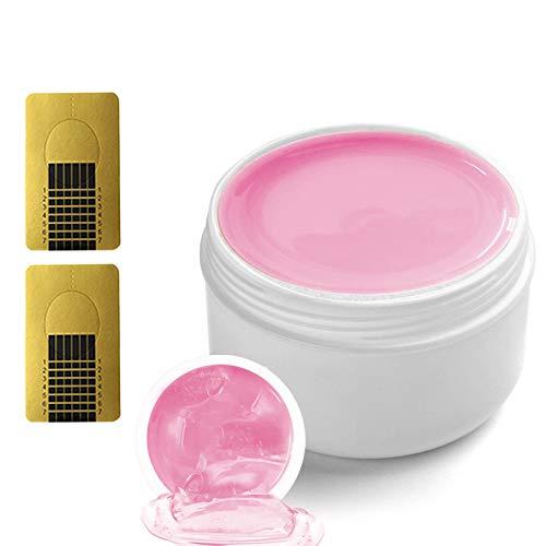 Ealicere 10ml Versiegelungsgel Fiber Gel mit 48 Stück Nagel-Schablonen Camouflage Nagelgel Rosa für Naildesign und Nail art - High Gloss Gel