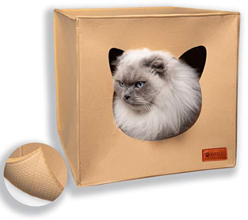 AVEELO Katzenhöhle aus Filz mit Anti-Rutsch Boden Katzenbox passend für IKEA Regal Kallax und Expedit mit herausnehmbaren Kissen Katzenhaus Filzhöhle für Katzen und kleine Hunde Katzenkorb (Beige)