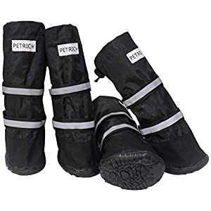 URBEST Dog Shoes, Waterproof Dog Boots, Warm Lining Nonslip Rubber Sole for Snow Winter, Only for Medium and Large Dogs, 2 Pairs