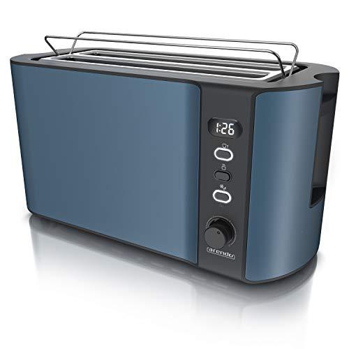 Arendo - Edelstahl Toaster Langschlitz 4 Scheiben - Defrost Funktion - wärmeisolierendes Gehäuse - mit integrierten Brötchenaufsatz - Krümelschublade - Display mit Restzeitanzeige - Admiral Blau
