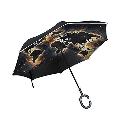 SKYDA Doppelschichtiger umgekehrter Regenschirm, umgekehrt, faltbar, Weltkarte, Winddicht, Regenschirm für Auto und Regen im Freien, mit C-förmigen Griff