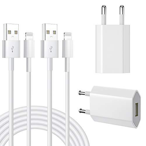 AAJO iPhone Ladekabel 2Pack 1M Lighting Ladekabel und 2Pack Ladegerät Stecker Netzteils Kompatibel mit Phone12/12mini/12 Pro/11/11 Pro XS/Max/XR/X/8/8 Plus/7/7 Plus/6/6S/6 Plus/5S/Pad Mini/Air/Pro