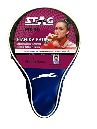 Stag Manika Batra MS-30 Table Tennis Racquet | 160 grams | Beginner | ITTF Approved Rubber | Multi- Color