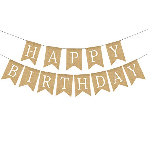 Rustic Happy Birthday Banner, Reusable Burlap Garland Birthday Party Decorations for Adults White