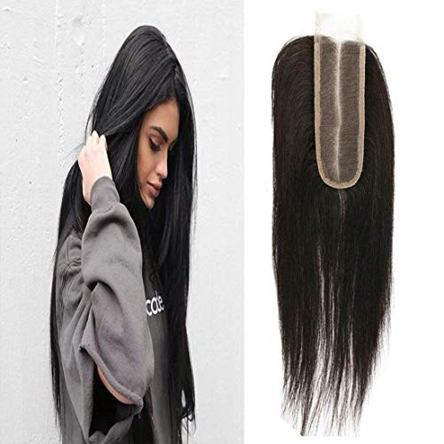 KAFEIER Lace Closure 2x6 Middle Part Straight 130% Density Pre Plcuked Lace Front Brazilian Remy Hair Unprocessed Sew In Hair Virgin Brazilian Hair With Closure 1b 16 inch