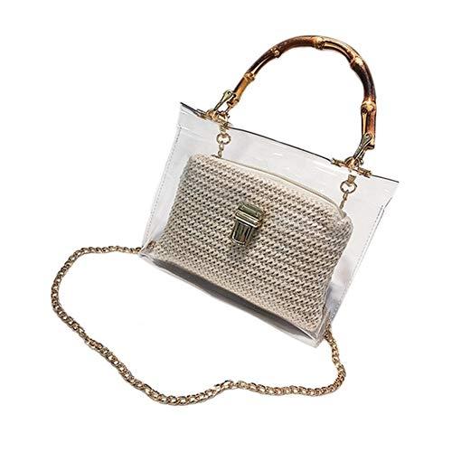 DYHM Handbag Transparente Tasche for Frauen Handtasche mit Bambusgriff Sommer kleine Kette Umhängetaschen Damen Stroh Strandtaschen (Color : Multi-Colored, Size : One Size)