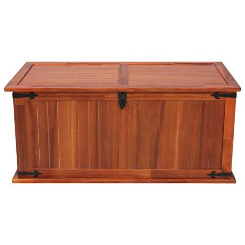 Tidyard Aufbewahrungstruhe Auflagenbox Gartenbox Mit 2 Seitengriffen für Garten Terrasse auch als Couchtisch Seitentisch Wohnzimmertisch,Abmessungen:79 x 34 x 32 cm (B x T x H),Massives Akazienholz