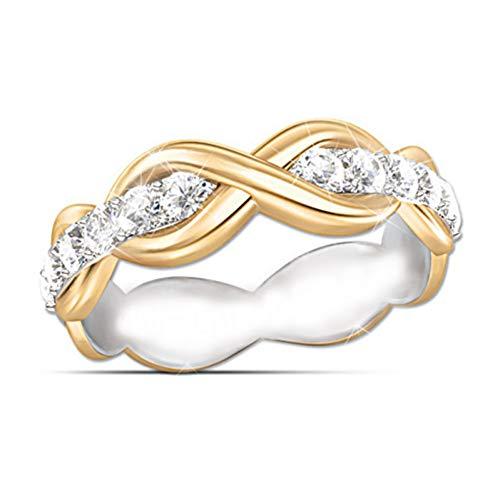 CTDMMJ Doble Color Twist Rope Hemp Infinity Ring Charm Ladies Gold Cut Zircon Anillos de Compromiso Promise Jewelry
