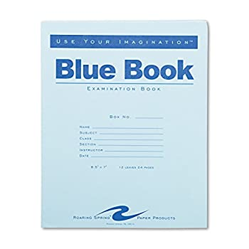 Roaring Spring Exam Blue Book Margin Rule 8-1/2 x 7 Inches White 12 Sht/24 Page  77513